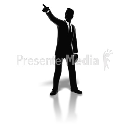 Businessman Pointing Silhouette PowerPoint Clip Art