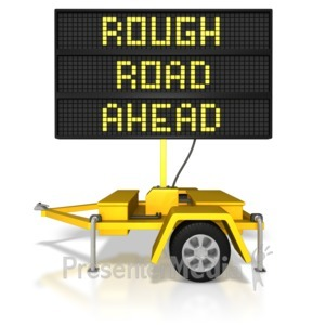 ID# 8347 - Digital Road Sign Rough Road Ahead - Presentation Clipart