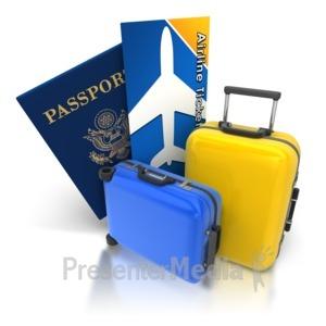 ID# 8353 - Luggage Passport Ticket - Presentation Clipart