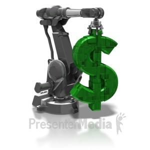 ID# 8376 - Robot Arm Holding Dollar Symbol - Presentation Clipart