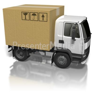 Cardboard Box Truck PowerPoint Clip Art
