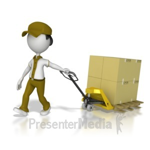 ID# 8387 - Warehouse Worker Moving Product - Presentation Clipart