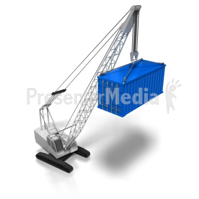 Crane Lifting Cargo Container PowerPoint Clip Art