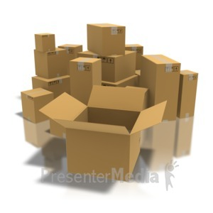 ID# 8389 - Open Box With Boxes - Presentation Clipart