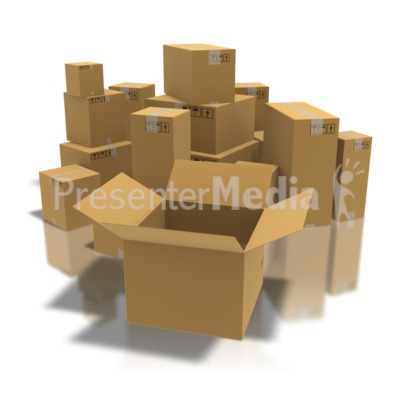 Open Box With Boxes PowerPoint Clip Art