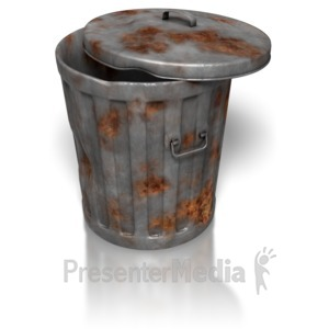 ID# 8394 - Rusty Metal Garbage Can - Presentation Clipart
