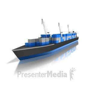 ID# 8404 - Cargo Ship - Presentation Clipart