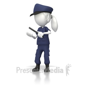 ID# 8406 - Women Cop With Night Stick  - Presentation Clipart