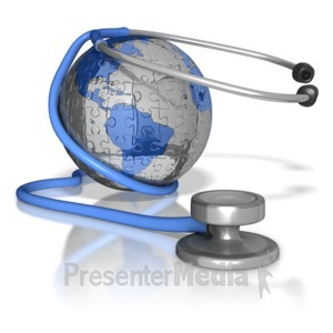 ID# 8437 - Stethoscope Around Puzzle Earth - Presentation Clipart