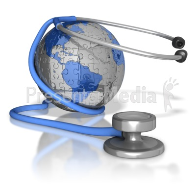 Stethoscope Around Puzzle Earth PowerPoint Clip Art