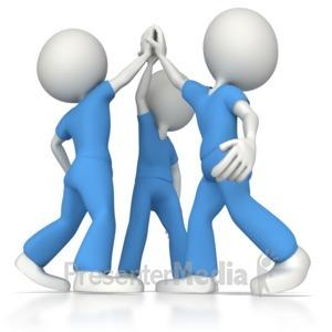 ID# 8459 - Nurse or Doctor Team High Five - Presentation Clipart