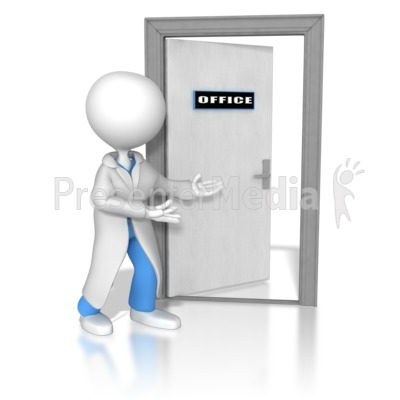 Doctor Or Nurse Opening The Door PowerPoint Clip Art