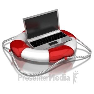 ID# 8503 - Computer In Life Preserver - Presentation Clipart