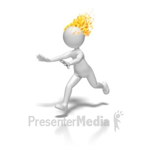 ID# 8519 - Stick Figure Run With Head On Fire - Presentation Clipart
