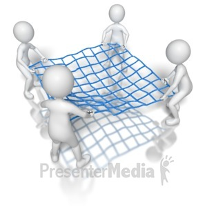 ID# 8545 - Stick Figures Holding Net - Presentation Clipart