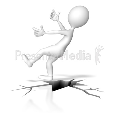 Falling Down Crack PowerPoint Clip Art