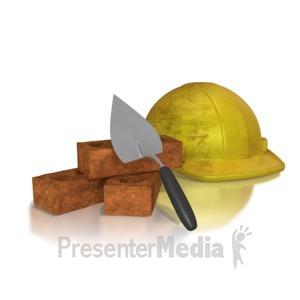 ID# 8574 - Brick Trowel Hard Hat - Presentation Clipart