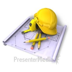 ID# 8584 - Helmet Blue Print Tools - Presentation Clipart