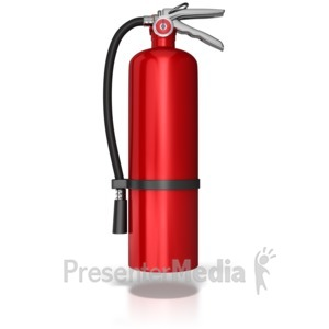 ID# 8588 - Hanging Fire Extinguisher - Presentation Clipart