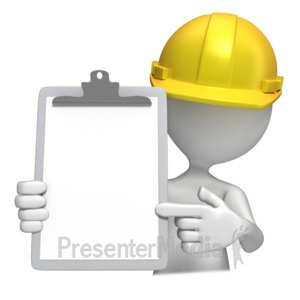 ID# 8593 - Construction Hardhat With Clipboard  - Presentation Clipart