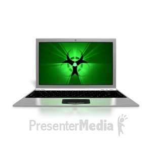 ID# 8596 - Laptop Virus Screen - Presentation Clipart