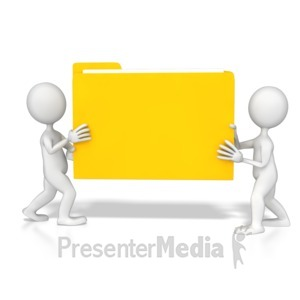 ID# 8602 - Stick Figures Carrying Folder - Presentation Clipart