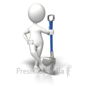 ID# 8603 - Stick Figure Relaxed With Shovel - Presentation Clipart