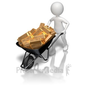 ID# 8611 - Stick Figure Wheel Barrow Gold - Presentation Clipart