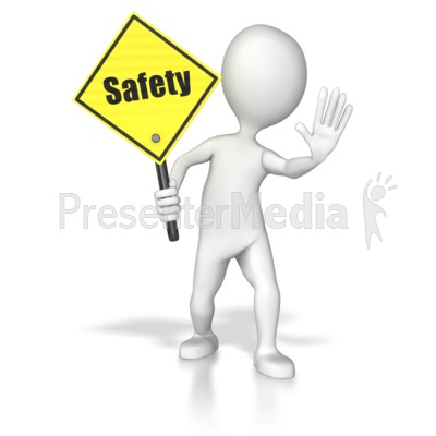 Stick Figure Holding A Saftey Sign PowerPoint Clip Art