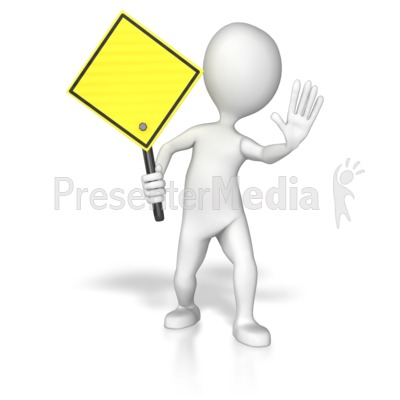Stick Figure Holding A Yellow Sign PowerPoint Clip Art