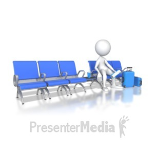 ID# 8655 - Waiting In Airport - Presentation Clipart