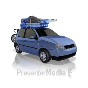 ID# 8659 - Car Carrying Luggage on Road Trip - Presentation Clipart