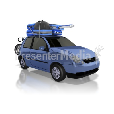Car Carrying Luggage on Road Trip PowerPoint Clip Art