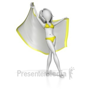 ID# 8686 - Beach Woman Stretching Out With Blanket - Presentation Clipart