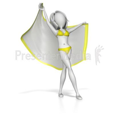 Beach Woman Stretching Out With Blanket PowerPoint Clip Art