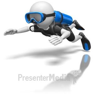 ID# 8689 - Stick Figure Scuba Diver - Presentation Clipart
