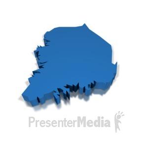 ID# 8697 - 3d South Korea - Presentation Clipart