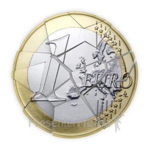 ID# 8729 - Euro Coin Shattered into Pieces - Presentation Clipart