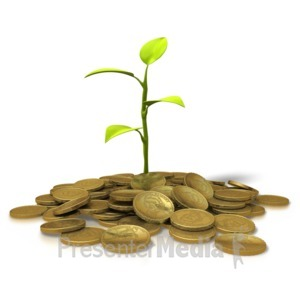 ID# 8756 - Coins Investment - Plant - Presentation Clipart