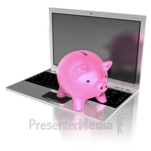 ID# 8789 - Piggy Bank On Notebook - Presentation Clipart