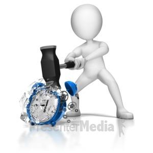 ID# 8797 - Stick Figure Smashing Alarm Clock - Presentation Clipart