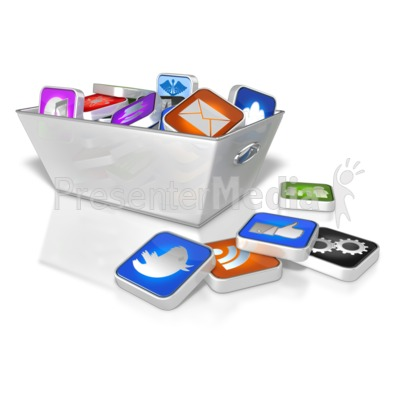 Bin Full Of App Icons PowerPoint Clip Art