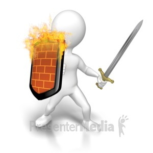 ID# 8812 - Figure Firewall Offensive - Presentation Clipart