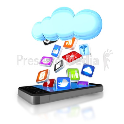 Apps Falling From Cloud Into Smart Phone PowerPoint Clip Art