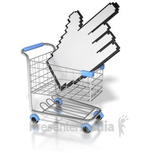 ID# 8826 - Click On The Shopping Cart - Presentation Clipart