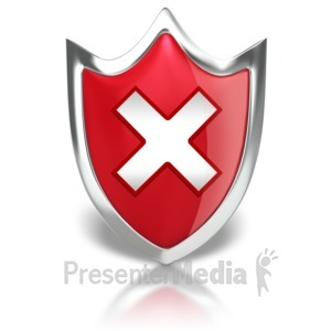 ID# 8852 - Shield X Warning - Presentation Clipart