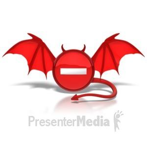 ID# 8856 - Negative Devil Button - Presentation Clipart