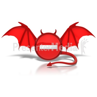 Negative Devil Button PowerPoint Clip Art