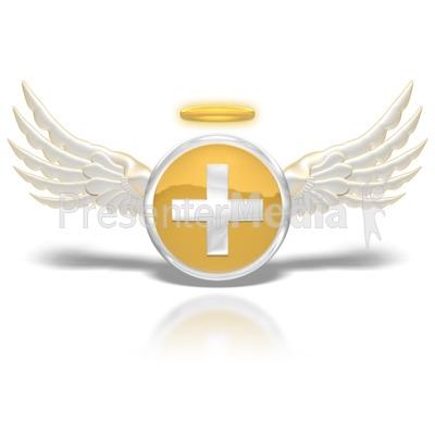 Positive Angel Button PowerPoint Clip Art