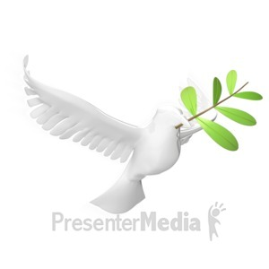 ID# 8861 - Dove With Olive Leaf - Presentation Clipart